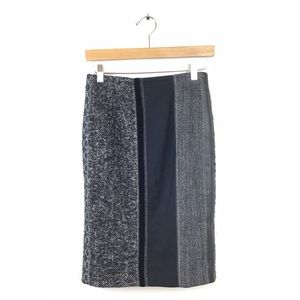 ETRO Skirt Pencil Stripe Wool Leather Straight 40
